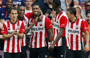 (L-R) Andres Guardado, Joshua Brenet, Jurgen Locadia, Nicolat Isimat-Marin, Santiago Arias, Maxime Lestienne pf PSV during the Dutch Eredivisie match between PSV Eindhoven and Feyenoord Rotterdam at the Phillips stadium on August 30, 2015 in Eindhoven, The Netherlands(Photo by VI Images via Getty Images)